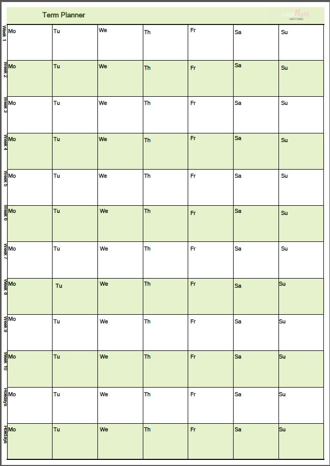 printable academic planner