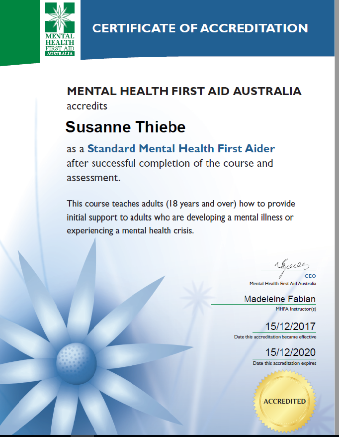 MHFA certificate