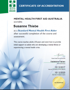 Mental Health First Aid Certificate, Professional organiser Susanne Thiebe
